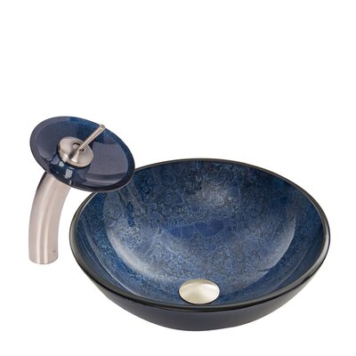 Eclipse Glass Circular Vessel Bathroom Sink with Faucet Faucet Finish: Brushed Nickel/Blue
