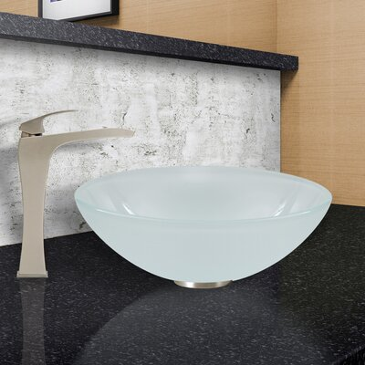 White Frost Glass Circular Vessel Bathroom Sink