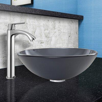 Sheer Black Frost Glass Circular Vessel Bathroom Sink