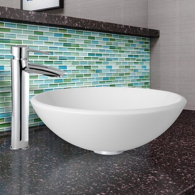 Phoenix Glass Circular Vessel Bathroom Sink with Faucet