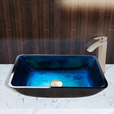 Turquoise Water Glass Rectangular Vessel Bathroom Sink with Faucet