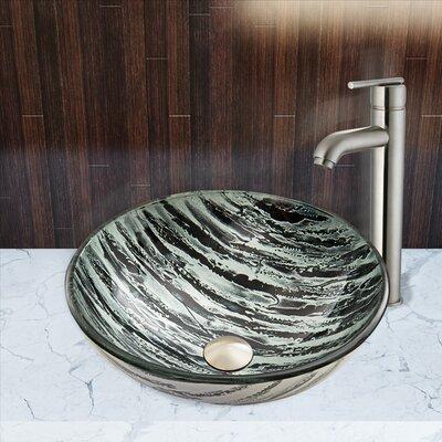 Rising Moon Glass Circular Vessel Bathroom Sink
