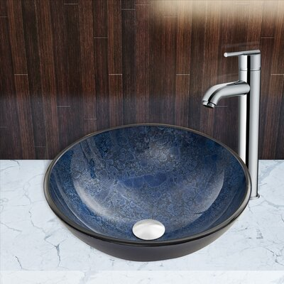 Indigo Esclipse Glass Circular Vessel Bathroom Sink