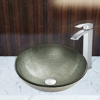 Simply Silver Glass Circular Vessel Bathroom Sink