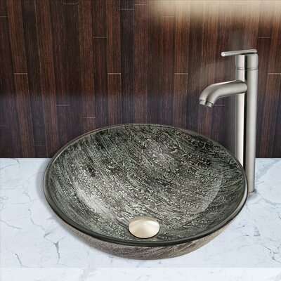 Titanium Glass Circular Vessel Bathroom Sink with Faucet