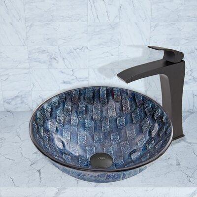 Rio Glass Circular Vessel Bathroom Sink with Faucet