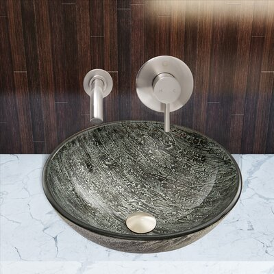 Titanium Glass Circular Vessel Bathroom Sink