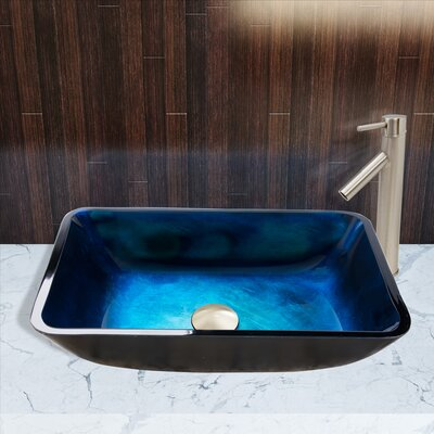 Turquoise Water Glass Rectangular Vessel Bathroom Sink