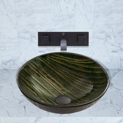 Green Asteriod Glass Circular Vessel Bathroom Sink