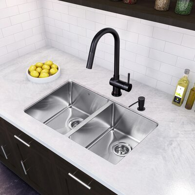 29 inch Undermount 50/50 Double Bowl 16 Gauge Stainless Steel Kitchen Sink with Gramercy Matte Black Faucet, Two Grids, Two Strainers and Soap Dispenser