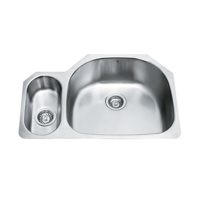 80/20 Double Bowl D Shaped Stainless Steel Undermount Kitchen Sink