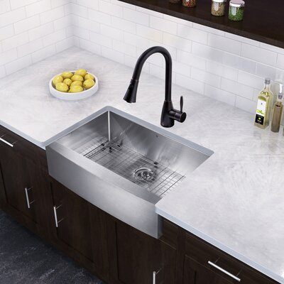 33 x 22 Farmhouse/Apron Kitchen Sink with Aylesbury Faucet, Grid and Strainer