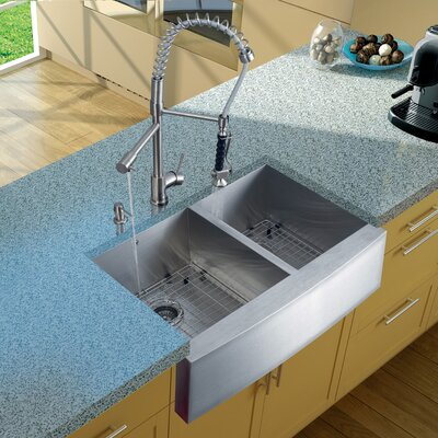 Zurich Single Handle Pull-Down Spray Kitchen Faucet with Soap Dispenser Finish: Stainless Steel