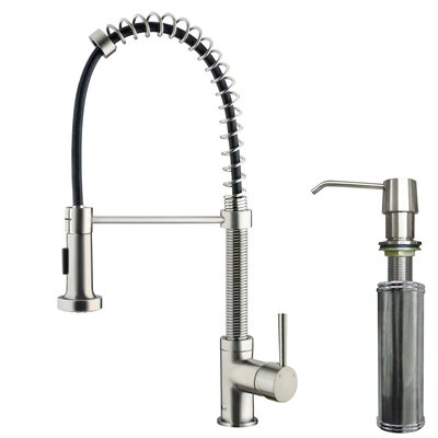 Edison Pull Down Single Handle Kitchen Faucet with Soap Dispenser Finish: Stainless Steel