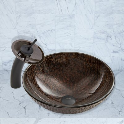 Copper Shield Glass Circular Vessel Bathroom Sink Faucet Finish: Matte Black