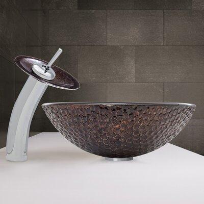 Copper Shield Glass Circular Vessel Bathroom Sink Faucet Finish: Chrome