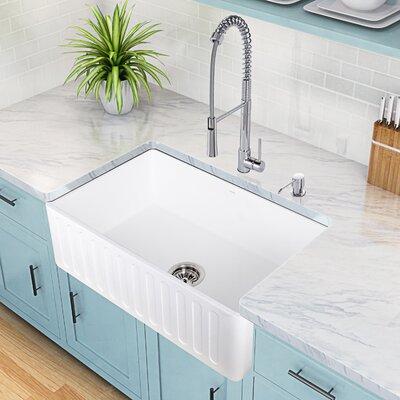 Laurelton Single Handle Pull-Down Kitchen Faucet with Soap Dispenser Finish: Chrome