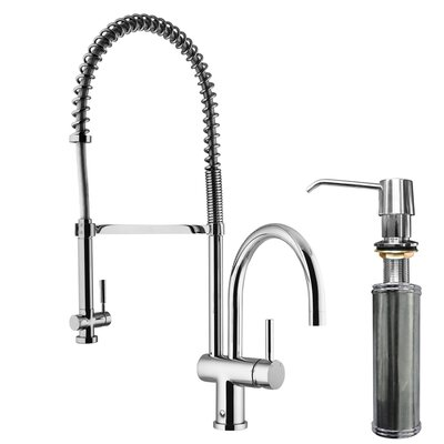 Dresden Pull-Down Spray Kitchen Faucet with Soap Dispenser Finish: Chrome