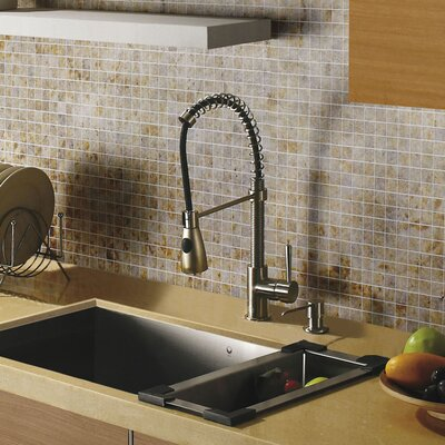 Brant Single Handle Pull-Down Spray Kitchen Faucet with Soap Dispenser Finish: Stainless Steel