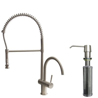 Dresden Pull-Down Spray Kitchen Faucet with Soap Dispenser Finish: Stainless Steel