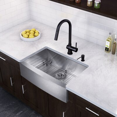 30 x 22.25 Farmhouse Apron Single Bowl 16 Gauge Stainless Steel Kitchen Sink with Faucet