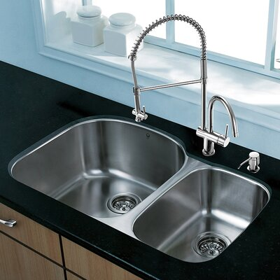 31 x 20.5 Undermount 70/30 Double Bowl 18 Gauge Stainless Steel Kitchen Sink with Faucet