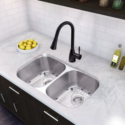 32 x 18.5 Undermount 50/50 Double Bowl 18 Gauge Stainless Steel Kitchen Sink with Faucet