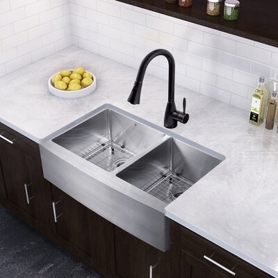 33 x 22 Double Basin Farmhouse Kitchen Sink with Faucet
