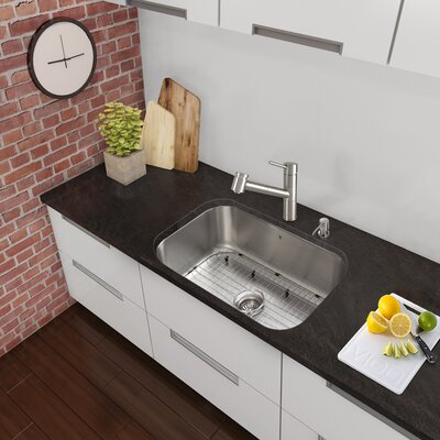 30 x 18 Undermount Single Bowl 18 Gauge Stainless Steel Kitchen Sink with Faucet