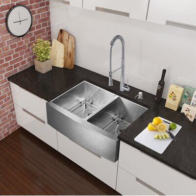 36 x 22.25 Farmhouse Apron 60/40 Double Bowl 16 Gauge Stainless Steel Kitchen Sink with Faucet