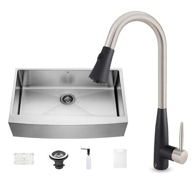 36 x 22.25 Farmhouse Apron Single Bowl 16 Gauge Stainless Steel Kitchen Sink with Faucet