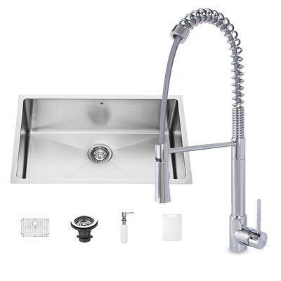 30 x 19 Undermount Single Bowl 16 Gauge Stainless Steel Kitchen Sink with Faucet