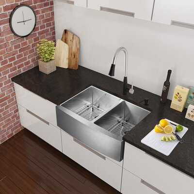 33 x 22.25 Farmhouse Apron 60/40 Double Bowl 16 Gauge Stainless Steel Kitchen Sink with Faucet