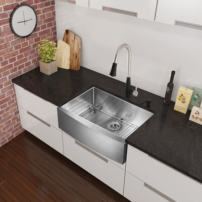 33 x 22.25 Farmhouse Apron Single Bowl 16 Gauge Stainless Steel Kitchen Sink with Faucet