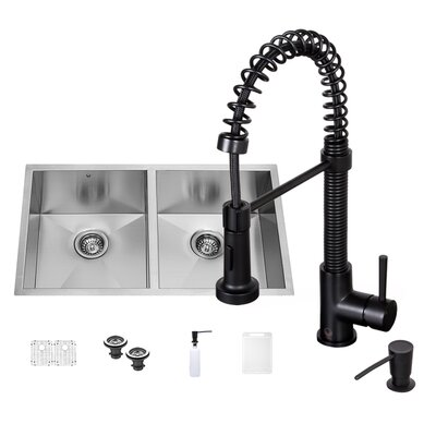 32 x 19 Double Basin Undermount Kitchen Sink with Faucet, Grid, Strainer and Soap Dispenser