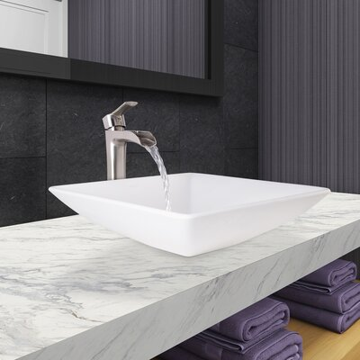 Square Vessel Bathroom Sink with Faucet
