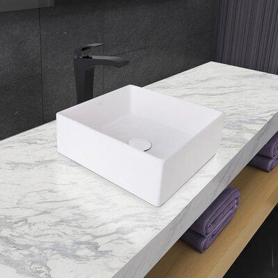 Dianthus Square Vessel Bathroom Sink with Faucet