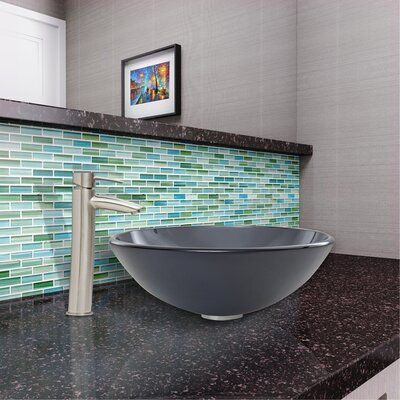 Blue Matrix Circular Vessel Bathroom Sink