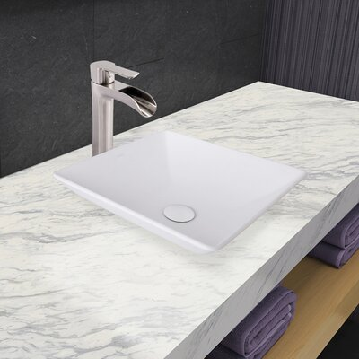Hibiscus Square Vessel Bathroom Sink with Faucet