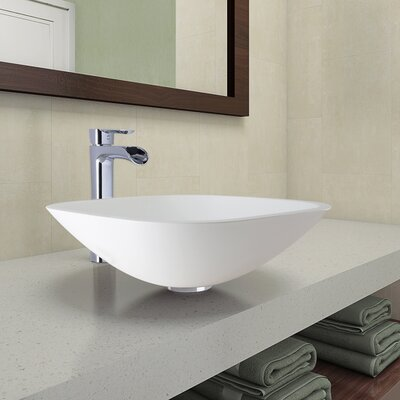 Phoenix Glass Circular Vessel Bathroom Sink with Faucet Faucet Finish: Chrome