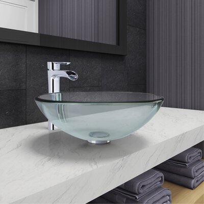 Crystalline Circular Vessel Bathroom Sink