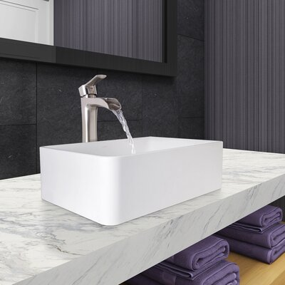 Amaryllis Rectangular Vessel Bathroom Sink with Faucet