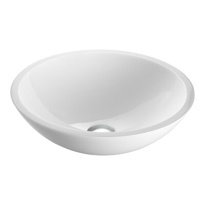 Flat Edged White Phoenix Glass Circular Vessel Bathroom Sink