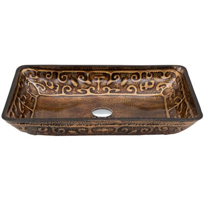 Golden Greek Glass Rectangular Vessel Bathroom Sink