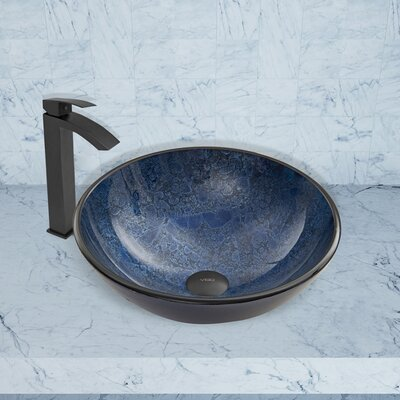 Glass Circular Vessel Bathroom Sink Finish: Indigo Eclipse