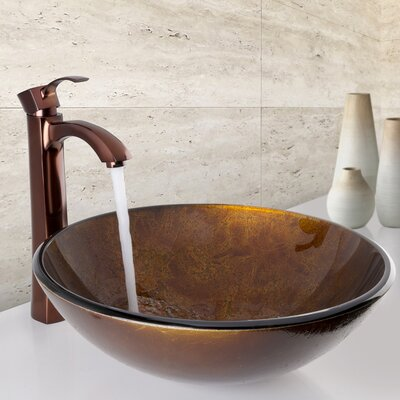 Russet Glass Circular Vessel Bathroom Sink