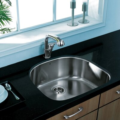 24 inch Undermount Single Bowl 18 Gauge Stainless Steel Kitchen Sink With Grid and Strainer: No