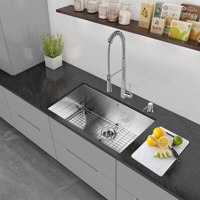 30 x 19 Undermount Single Bowl 16 Gauge Stainless Steel Kitchen Sink with Strainer and Grid