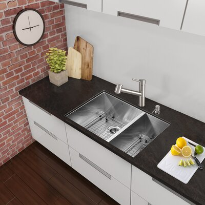 Alma 29 inch Undermount 75/25 Double Bowl 16 Gauge Stainless Steel Kitchen Sink With Grids and Strainers: Yes