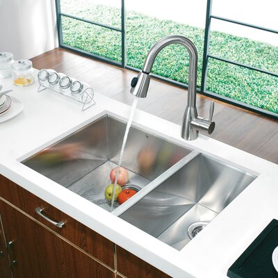 Alma 29 inch Undermount 75/25 Double Bowl 16 Gauge Stainless Steel Kitchen Sink With Grids and Strainers: No